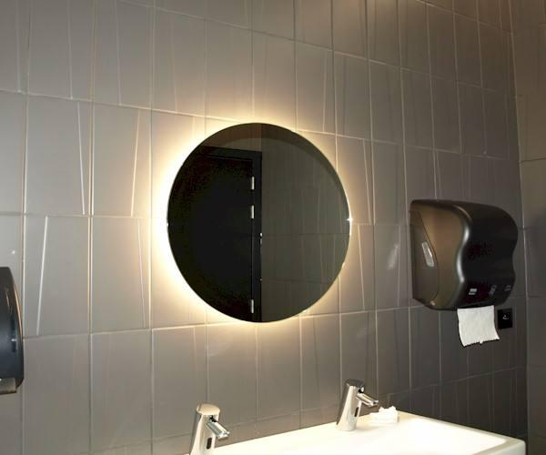 Bathroom mirror led round 60cm bathroom mirror custom made for Custom made bathroom mirrors