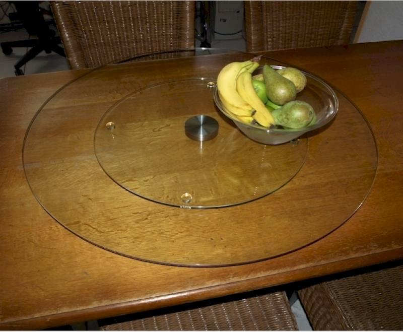 Lazy susan op maat 80cm draaitafel draaiplateau - Stoelen voor glazen tafel ...