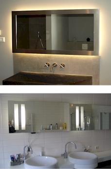 Badkamerspiegel led verlichting op maat gemaakte standaard spiegels - Voorbeeld deco badkamer ...